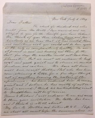 Autographed Letter Signed. NEW YORK STATE: Cholera Epidemic of 1849
