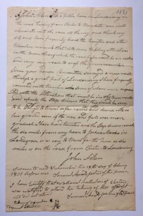 Autographed Document Signed.; (Vermont) A Proposed Road from Charter to Manchester. John AIKEN