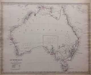 Australia in 1839; 1840 SDUK Map of Australia with unexplored interiors. SDUK, Society for the...