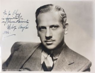 Inscribed Signed Photograph. Melvyn DOUGLAS