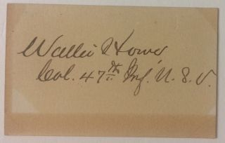 Signed Card. Walter HOWE