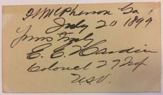 Signed Card. Edward E. HARDIN