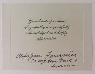 Signed Bereavement Card. Alexis Jean FOURNIER