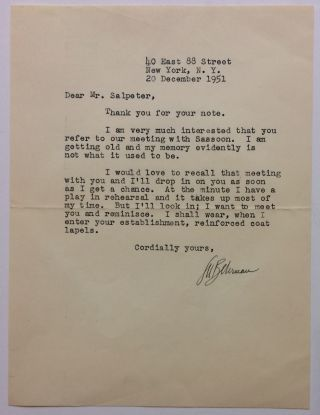 Typed Letter Signed. S. N. BEHRMAN