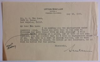 Typed Letter Signed. Upton SINCLAIR