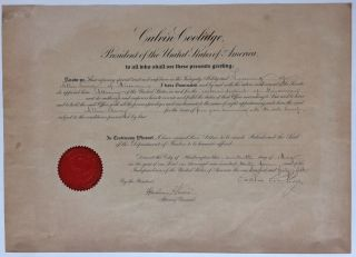 Document Signed. Calvin COOLIDGE