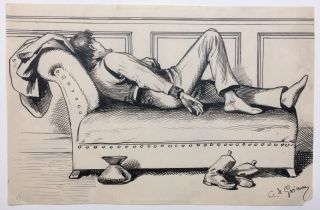 Man sleeping on couch (original drawing). Constantin DE GRIMM