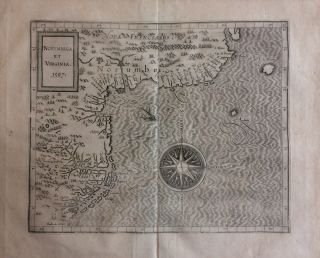 Norumbega et Virginia; 1597 Important first state map of the East Coast of North America....