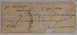Autograph Document Signed - Presidential Check. James MONROE