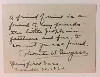 Autograph Quote Signed. Thornton BURGESS