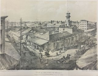 View of the Washington Market; From the S. E. cor. of Fulton & Washington Sts., 1859. D. T....