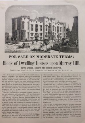 For Sale on Moderate Terms: The Block of Dwelling Houses upon Murray Hill, Fifth Avenue, Opposite...