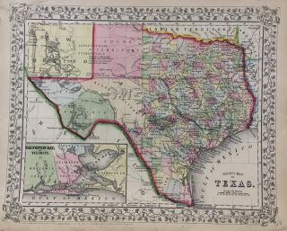 County Map of Texas; Mitchell's Map of Texas. Samuel Augustus Jr MITCHELL