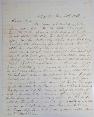Autograph Letter Signed. CIVIL WAR