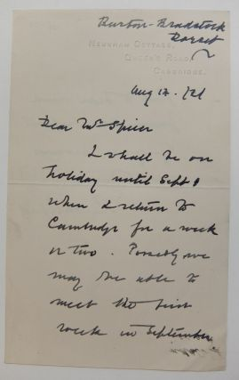 Autograph Letter Signed. Ernest RUTHERFORD