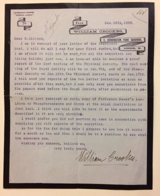 Typed Letter Signed. William CROOKES