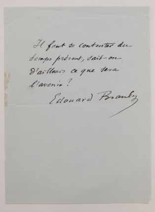 Autograph Quote Signed. Eduoard BRANLY