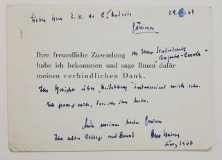 Signed Correspondence Card. Otto HAHN