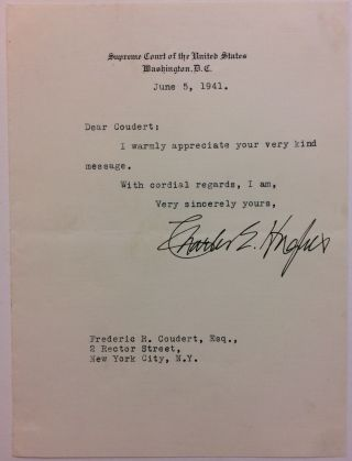 Typed Letter Signed. Charles Evans HUGHES.