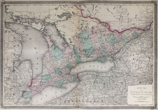 Map of the Province of Ontario, Dominion of Canada. TAINTOR, MERRILL