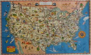 A good-natured map of the United States setting forth the services of The Greyhound Lines....