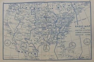 Radio Map of the United States, Lower Canada, Mexico-Cuba; Map and Log Booklet. CUNNINGHAM RADIO...