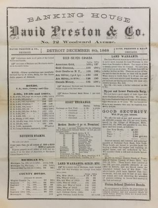 Broadside Advertising Land Grants, 1812 War Warrants, Civil War Bonds]. DAVID PRESTON, CO