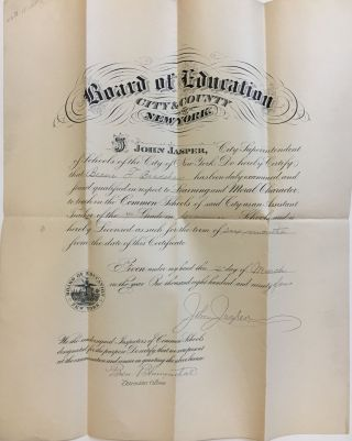 1894 Teaching License. John JASPER, NEW YORK BOARD OF EDUCATION