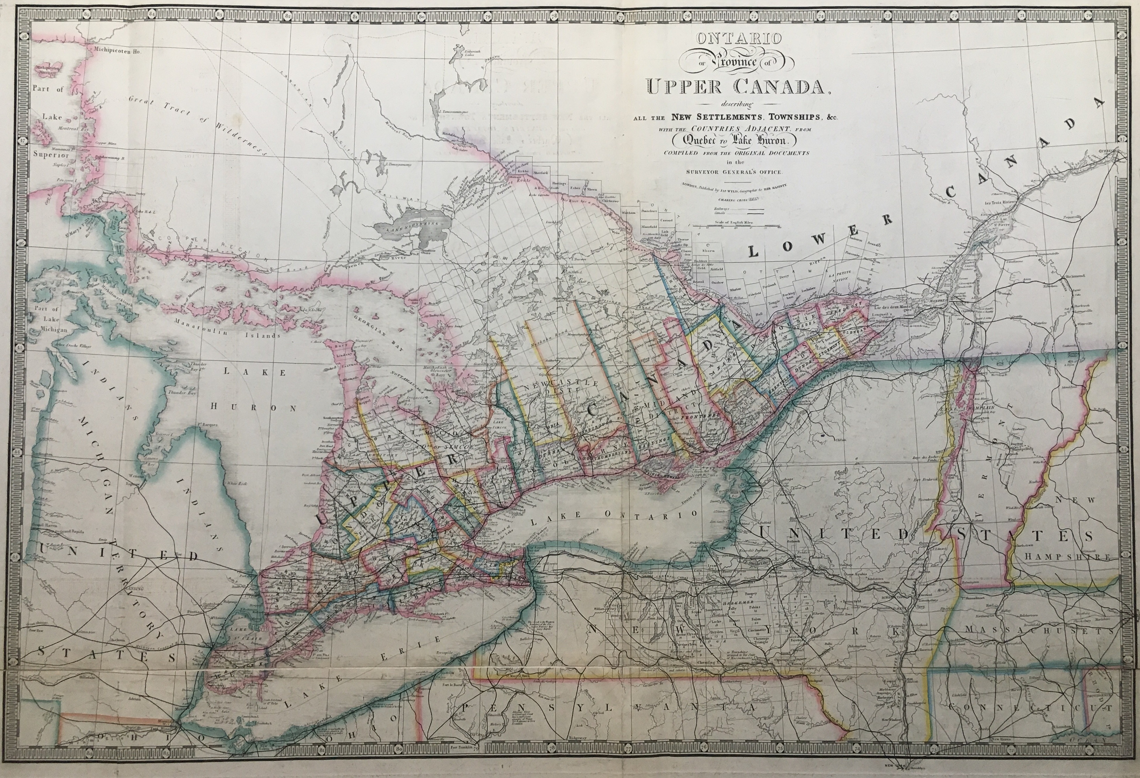A Map of the Province of Upper Canada, describing all the New Settlements, Townships, &c. with...