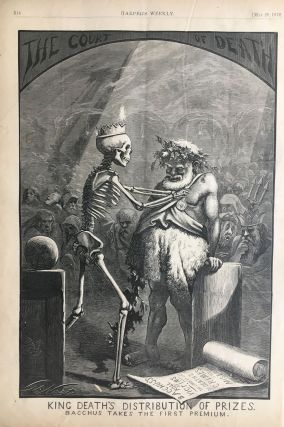 King Death's Distribution of Prizes. Bacchus Takes the First Premium. Thomas NAST, HARPER'S WEEKLY.
