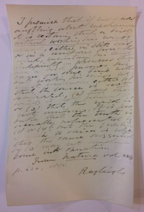 Souvenir Autograph Manuscript. John William Strutt RAYLEIGH