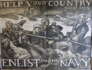 Help Your Country Stop This: Enlist in the Navy. Sir Frank BRANGWYN