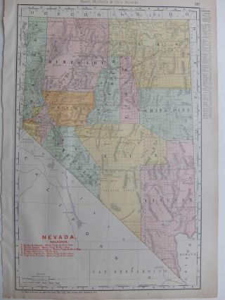 Rand, McNally & Co's New Business Atlas Map of Nevada. RAND MCNALLY, CO