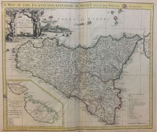 A Map of the Island and Kingdom of Sicily From the latest observations; A New Map of Sicily, most...