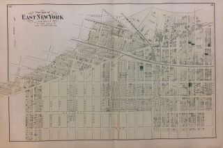 Portion of East New York New Lots, Kings Co. L.I.; Early Beers map of Bushwick Brooklyn!...