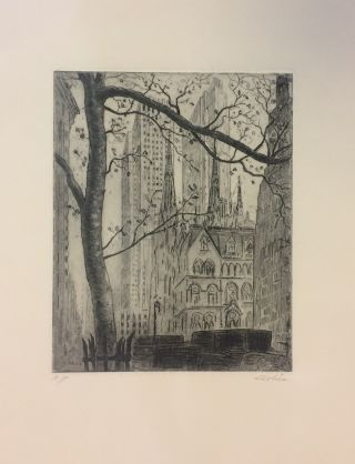 Untitled Etching [St. Patrick's Cathedral and Radio City Music Hall]. Leon DOLICE