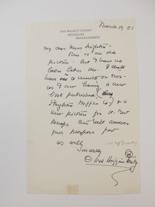 Autograph Letter Signed. Olive Higgins PROUTY