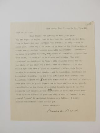 Typed Letter Signed. Charles A. BEARD