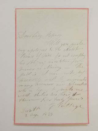Autograph Letter Signed. Charles BABBAGE.