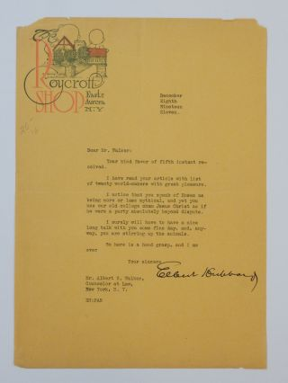 Typed Letter Signed. Elbert HUBBARD