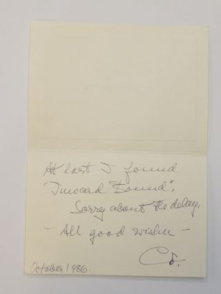 Autograph Note Signed. Charlotte Cramer SACHS, Mrs. Alexander Sachs