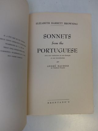 Sonnets from the Portuguese; Avec une traduction en vers francais et une introduction par Andre Maurois