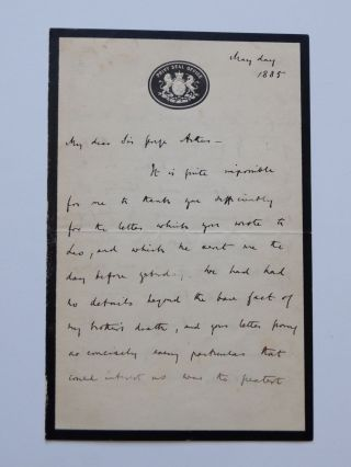 Autograph Letter Signed. Archibald PRIMROSE, 5th Earl of Rosebery