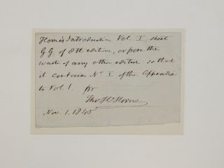 Autograph Note Signed. Thomas Hartwell HORNE