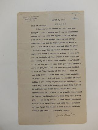 Typed Letter Signed. Winston CHURCHILL