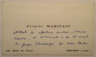 Autographed Note in French on a Personal Card. Jacques MARITAIN, 1882 - 1973