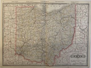 Railroad and County Map of Ohio. George CRAM