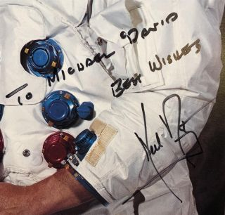 Autographed color photo signed in full by the American Astronaut and Aeronatical Engineer who became the first man to walk on the Moon.