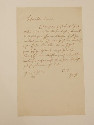 Autograph Letter Signed. Carl Friedrich GAUSS