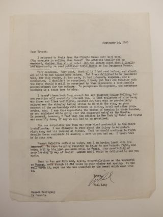 Signed Typed Carbon Letter. Will LANG